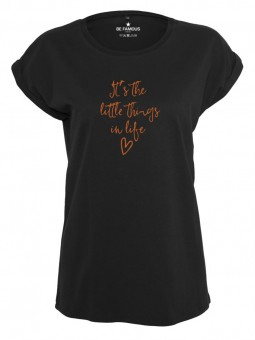 Be Famous Women Rolled T-Shirt, Littlethings Black Shirt | XL