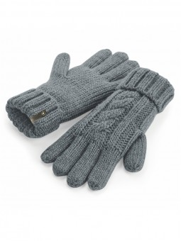 Be Famous Cable Knit Gloves G1901 grey