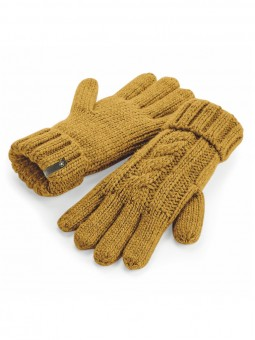 Be Famous Cable Knit Gloves G1901 mustard