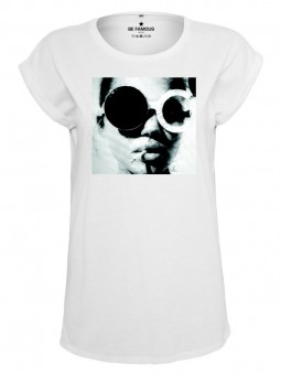 Be Famous Classic Roll Up T-Shirt Glasses  White   M