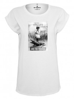 Be Famous Classic Roll Up T-Shirt Pussies  White   S