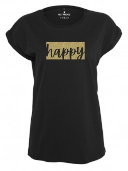 Be Famous Women Rolled T-Shirt, Colorblock2 Happy