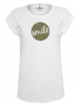 Be Famous Women Rolled T-Shirt, Circle3 Smile