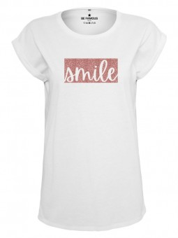 Be Famous Women Rolled T-Shirt Colorblock2 Smile