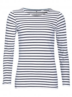 Be Famous Women`s Long Sleeve Striped T-Shirt White-Navy   M