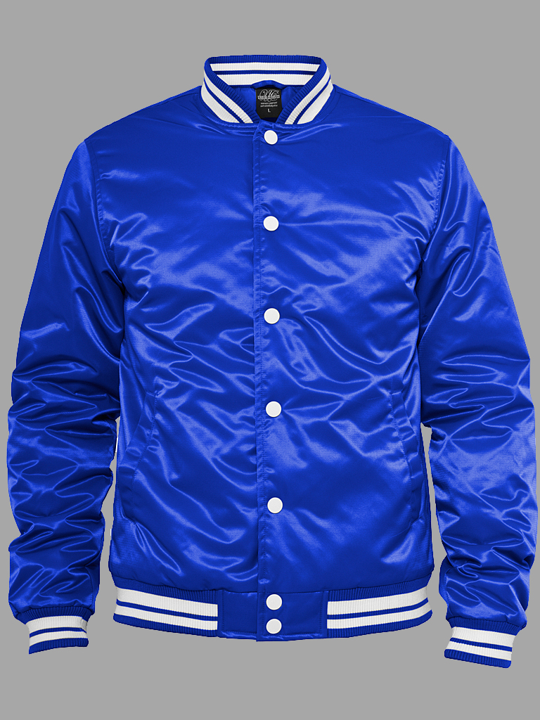 streetwear fashion online shop urban classics shiny college jacket royal white auf. Black Bedroom Furniture Sets. Home Design Ideas
